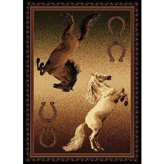 Lodge Design 370 Cowboy And Riding Horse Area Rug 5 X 7