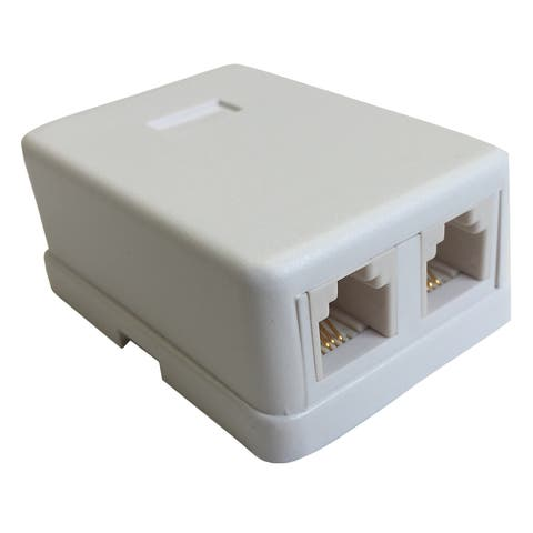 Black Point Products Inc BT-073-WHITE 4 Conductor Dual White Phone Jack