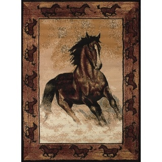 Legends Stallion Border Area Rug (3'3 x 4'11)