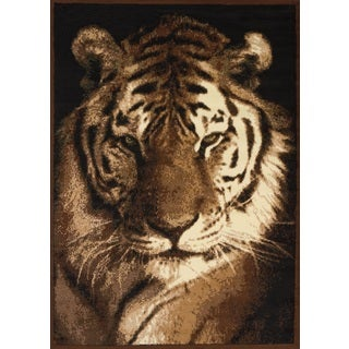 Legends Tiger Portrait Polypropylene Area Rug (3'3 x 4'11)