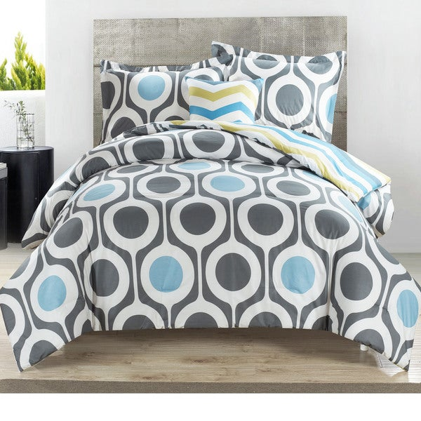 Jazz 4-piece Cotton Comforter Set with Chevron and Dot Patterns