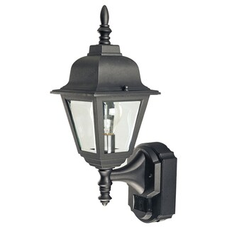 Heath Zenith Black Glass Motion Activated Outdoor Wall Light Motion-Sensing LED 120 volts 100 watts