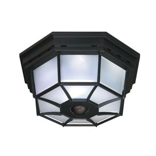 Heath Zenith  Black  Glass  Outdoor Ceiling Light  Motion-Sensing  Incandescent  120 volts 25 watts