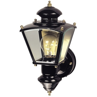 Heathco HZ-4150-BK Black Brass Four-Sided Coach Style Motion Activated Lantern