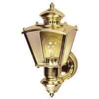 Heath Zenith  Polished Brass  Metal  Coach Light  Motion-Sensing  A19  100 watts