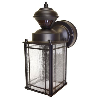 Heath Zenith Oil Rubbed Bronze Metal Motion Activated Coach Light Motion-Sensing Incandescent 60 watts