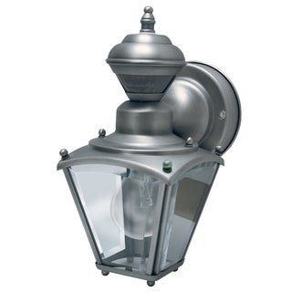 Heath Zenith Silver Pewter Wall Lantern Motion-Sensing Incandescent 120 volts 60 watts