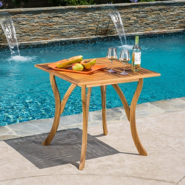 Shop Hermosa Outdoor Acacia Wood Square Dining Table By Christopher - Square wood outdoor dining table