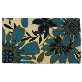 Kosas Home Nadine Coir Blue/Green/Beige Handmade Coconut Husk Doormat (18x30)