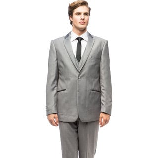 Men's Grey Satin-trim Vested Tuxedo