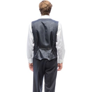Men's Navy Blue Polyester Rayon Vested Tuxedo