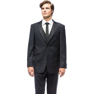 Men's Navy Blue Polyester Rayon Vested Tuxedo