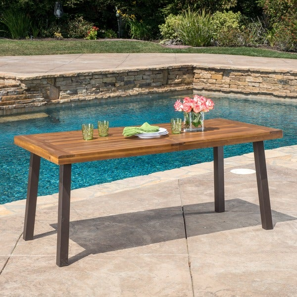 Della Outdoor Acacia Wood Rectangle Dining Table By