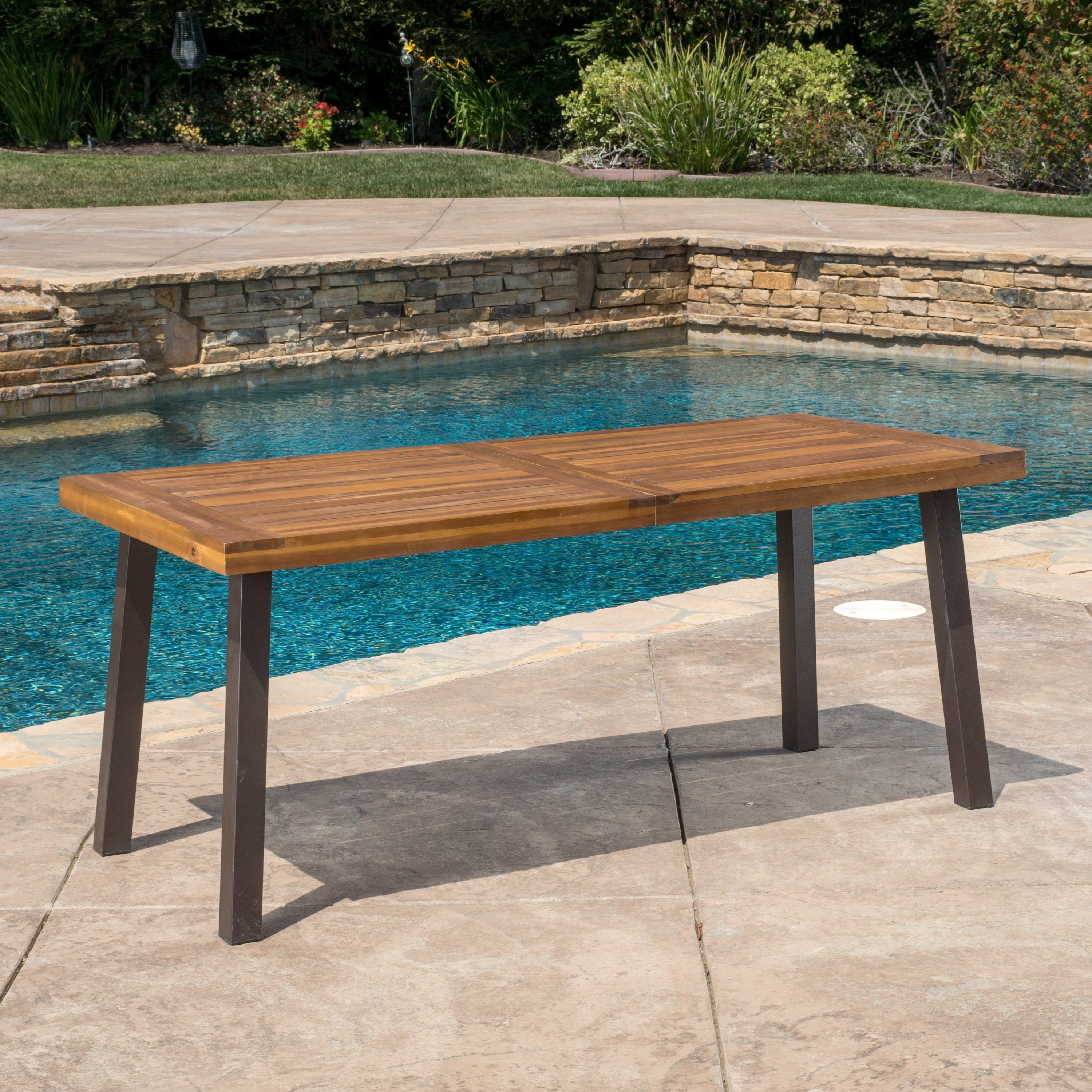 Shop Della Outdoor Acacia Wood Rectangle Dining Table By Christopher Knight Home Overstock 11766821