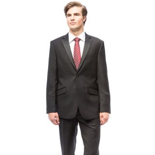 Men's Black Polyester/Rayon Slim Fit Tuxedo