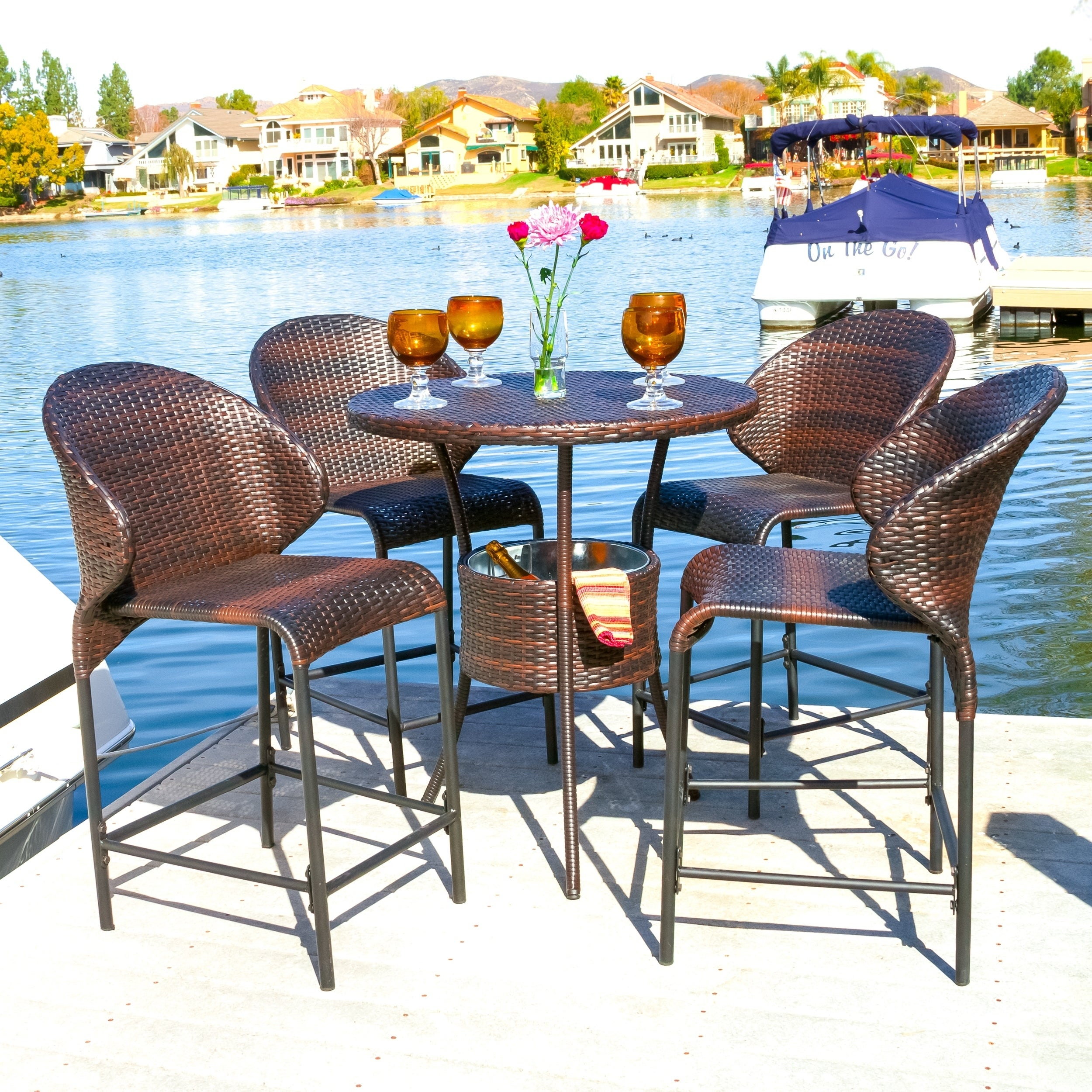 Oyster Bay Outdoor Wicker Counter Stool Set Of 4 By Christopher Knight Home