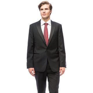 Men's Black Wool Peak Lapel Tuxedo