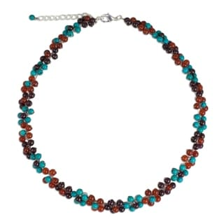 Handcrafted 'Rainbow Bloom' Multi-gemstone Necklace (Thailand)