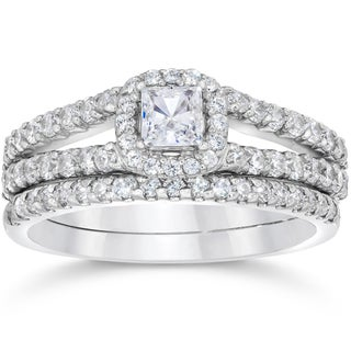 14k White Gold 1 1/10ct TDW Princess Cut Diamond Halo Engagement Wedding Ring Set