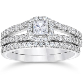 14k White Gold 1 1/10ct TDW Princess Cut Diamond Halo Engagement Wedding Ring Set (I-J, I2-I3)