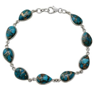 Sterling Silver 'Serenity in Blue' Turquoise Bracelet (India)