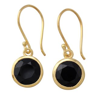 Handcrafted Gold Overlay 'Elite Discretion' Onyx Earrings (India)