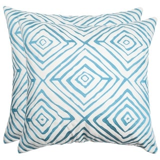 Safavieh Diamonds Five 20-Inch Light Blue / Cream Decorative Throw Pillow (Set of 2)