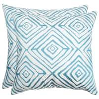 Safavieh Diamonds Five 20-Inch Light Blue / Cream Decorative Throw Pillow (Set of 2)