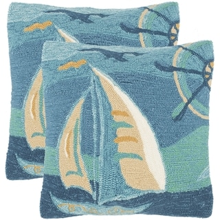 Safavieh Seascape 20-Inch Sea Green Decorative Throw Pillow (Set of 2)