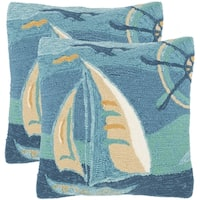 Safavieh Seascape 20-Inch Sea Green Decorative Throw Pillow (Set of 2)