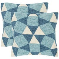 Safavieh Abstract Puzzle 20-Inch Nautical Blue Decorative Throw Pillow (Set of 2)