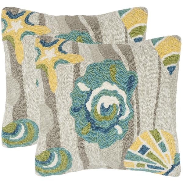 Safavieh Beyond The Sea 20-Inch Tropical Grey Decorative Throw Pillow (Set of 2)