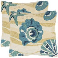 Safavieh Beyond The Sea 20-Inch Beach Yellow Decorative Throw Pillow (Set of 2)