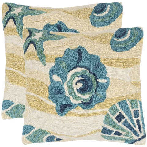 Safavieh Beyond The Sea 20-Inch Beach Yellow Decorative Throw Pillow (Set of 2)