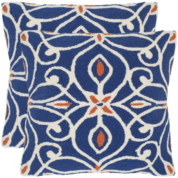 Safavieh Algarbe 20-Inch Tile Blue Decorative Throw Pillow (Set of 2)