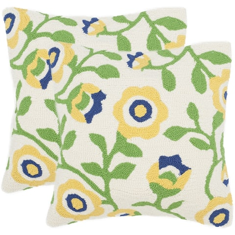 Safavieh Provence Floral 20-Inch Sunshine Decorative Throw Pillow (Set of 2)