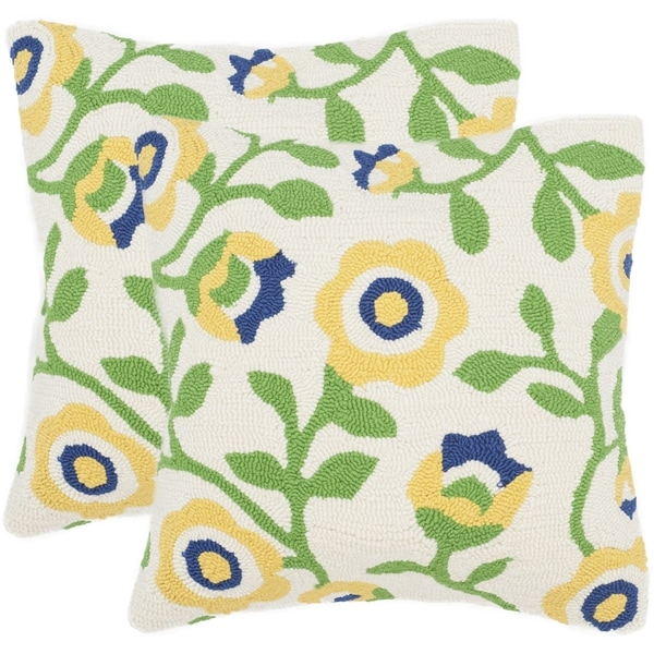Safavieh Provence Floral 20-Inch Sunshine Decorative Throw Pillow (Set of 2)