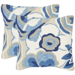 Safavieh Jacobean Floral 20-Inch Marine Decorative Throw Pillow (Set of 2)