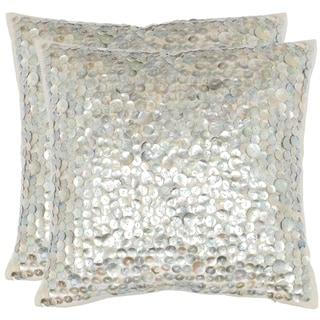 Safavieh Dialia 22-Inch Silver Decorative Throw Pillow (Set of 2)