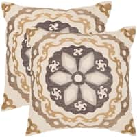 Safavieh Thea 24-Inch Taupe / Gold Decorative Throw Pillow (Set of 2)
