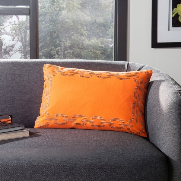 Safavieh Sibine 20-Inch Orange Decorative Throw Pillow (Set of 2)