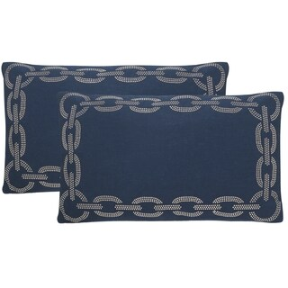 Safavieh Sibine 20-Inch Navy / Blue Decorative Throw Pillow (Set of 2)