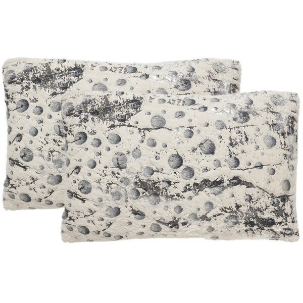 Safavieh Nars 20-Inch White Decorative Throw Pillow (Set of 2)
