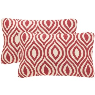 Safavieh Metis 20-Inch Red Decorative Throw Pillow (Set of 2)
