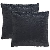 Safavieh Kiki 20-Inch Black Opium Decorative Throw Pillow (Set of 2)
