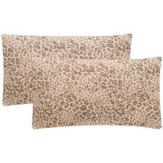 Safavieh Satin Leopard 20-Inch Earth Decorative Throw Pillow (Set of 2)