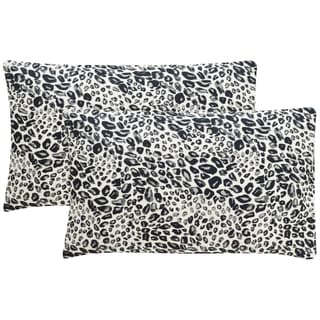 Safavieh Satin Leopard 20-Inch Midnight Decorative Throw Pillow (Set of 2)