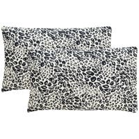 Safavieh Satin Leopard 20-Inch Midnight Decorative Throw Pillow (Set of 2)
