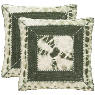 Safavieh Dip-Dye Patch 24-Inch Cilantro Decorative Throw Pillow (Set of 2)