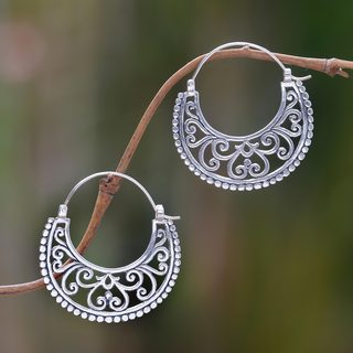 Handcrafted Sterling Silver 'Moonlit Garden' Earrings (Indonesia)